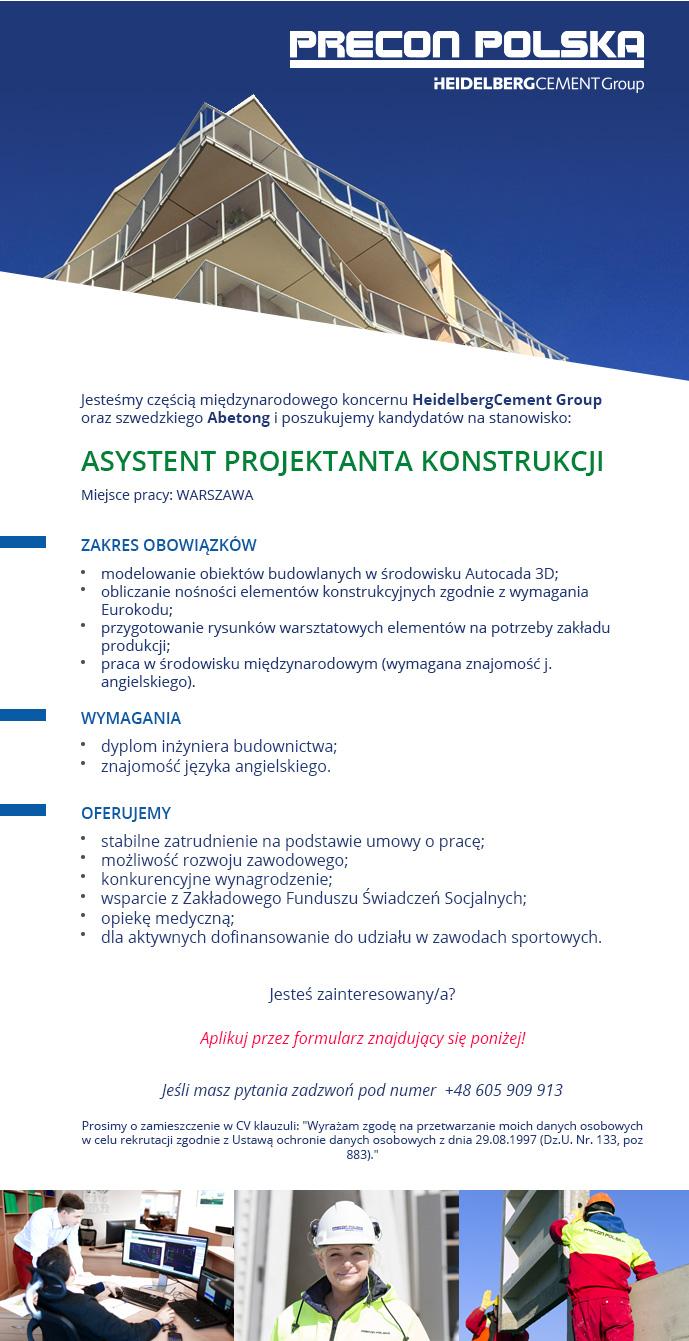 Praca Warszawa ASYSTENT PROJEKTANTA KONSTRUKCJI